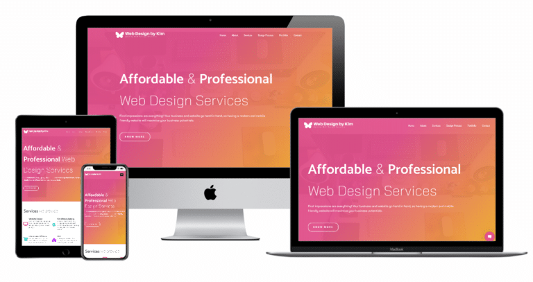 Web Design by Kim Website Multiple Devices view