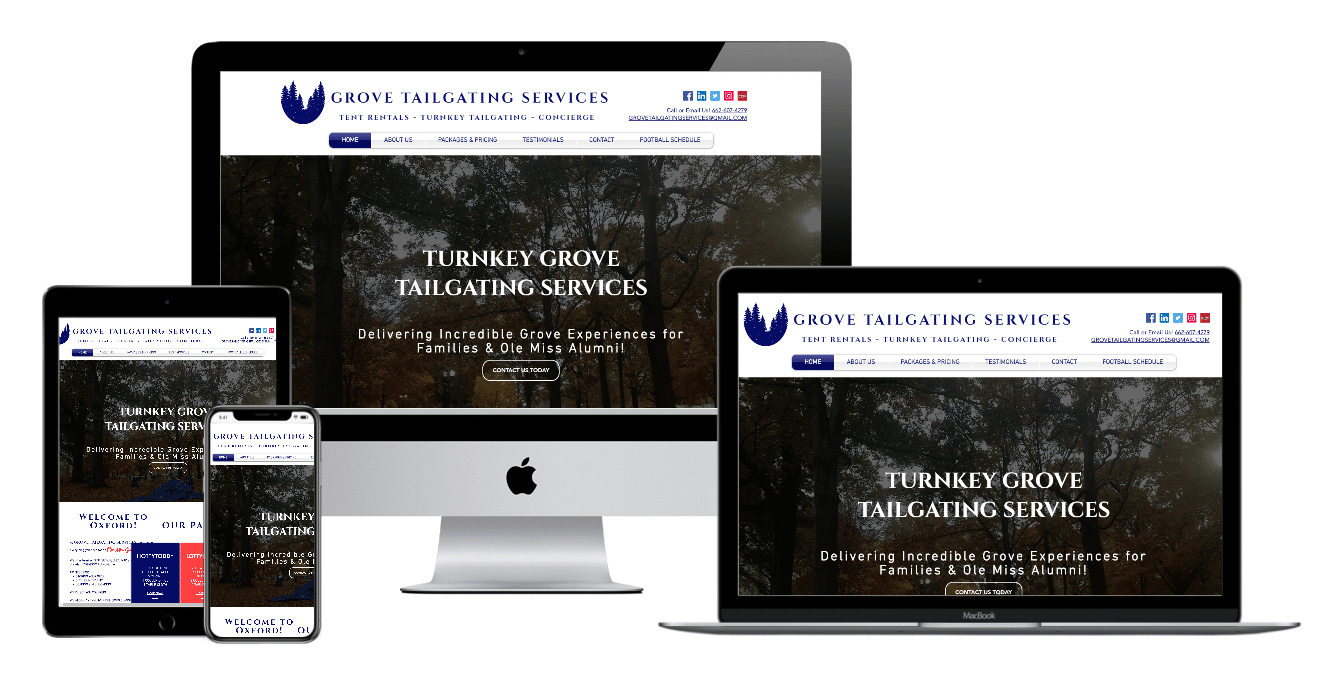 Grove Tailgating services Website Multiple Devices view