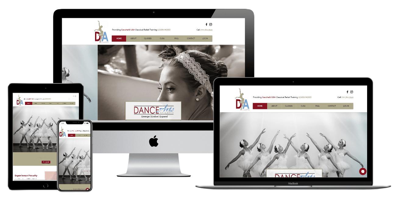 Dance Arts Gillete Website Multiple Devices view