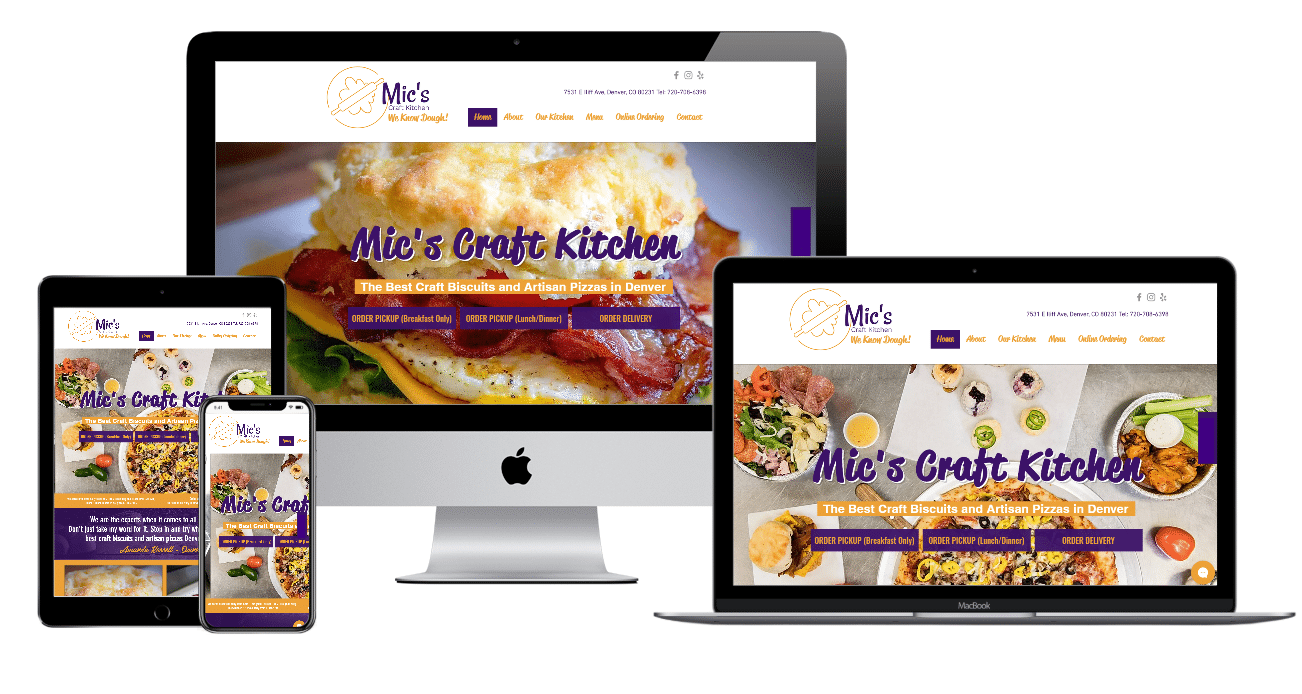 Mic's Craft kitchen Website Multiple Devices view