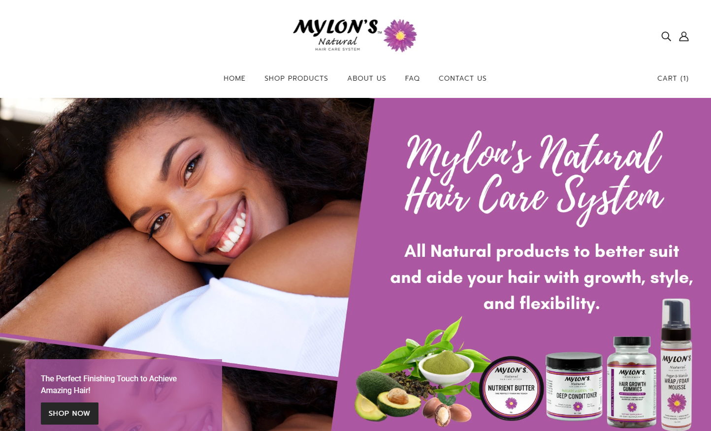 Mylons Hair Care System Website Homepage